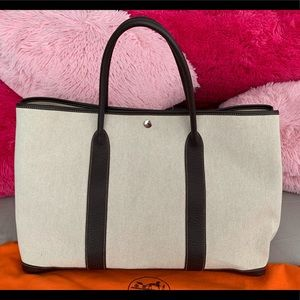 HERMES BROWN/BEIGE TOILE CANVAS GARDEN PARTY TOTE